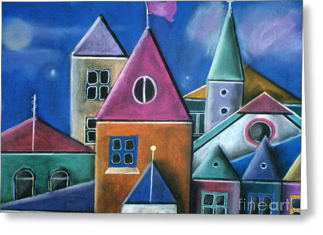 Coloured Pastels Greeting Cards - Houses Greeting Card by Caroline Peacock