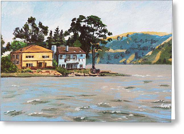 Residential Structure Greeting Cards - Houses Next To Water Greeting Card by Masha Batkova
