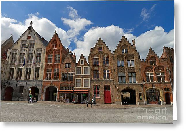 Old House Photographs Greeting Cards - Houses of Jan Van Eyck Square in Bruges Belgium Greeting Card by Louise Heusinkveld