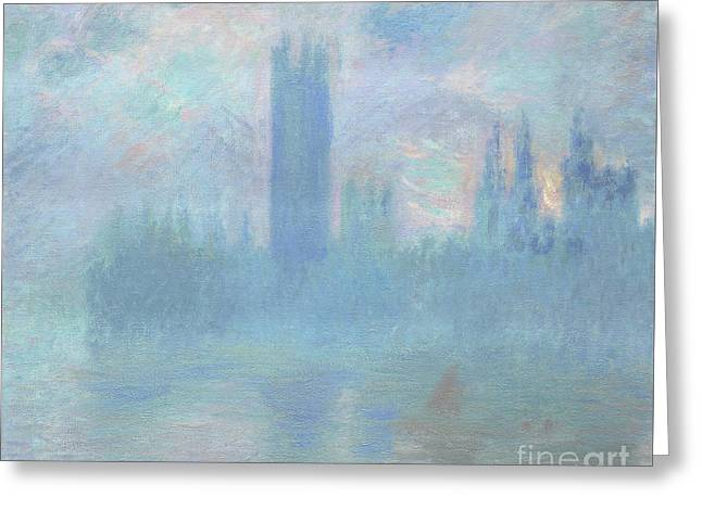 Houses Of Parliament  London Greeting Card by Claude Monet