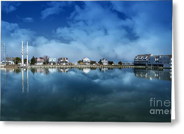 Ocean Landscape Greeting Cards - Houses Reflecting In The Bay Greeting Card by Tom Gari Gallery-Three-Photography