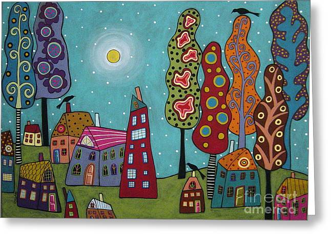 For Sale Greeting Cards - Houses trees and Birds Greeting Card by Karla Gerard