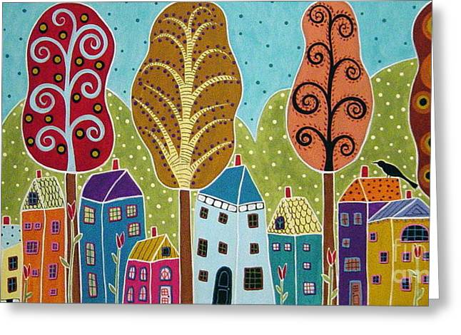 Trees Mixed Media Greeting Cards - Houses Trees Birds Painting by Karla G Greeting Card by Karla Gerard