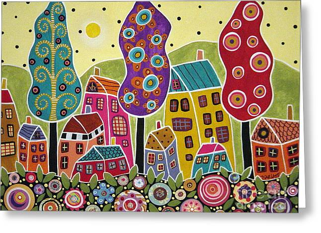 Landscape Mixed Media Greeting Cards - Houses Trees Flowers Greeting Card by Karla Gerard