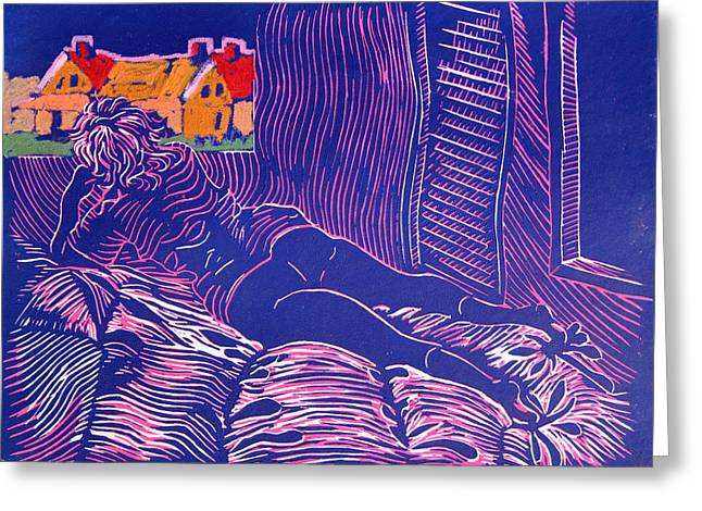 Linocut Greeting Cards - Housewife on bed admiring a painting of her house Greeting Card by Gerald Swift
