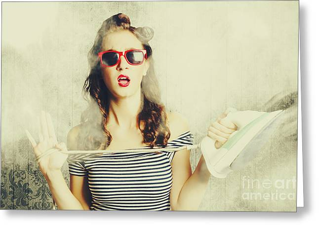 Housework Mad Pin Up Greeting Card by Jorgo Photography - Wall Art Gallery