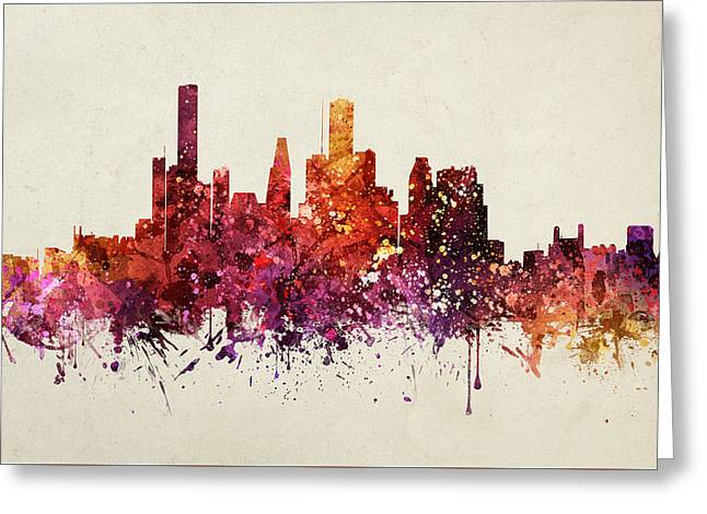 Watercolour Drawings Greeting Cards - Houston Cityscape 09 Greeting Card by Aged Pixel
