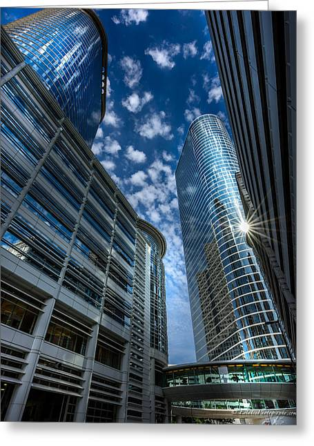 Dynamos Greeting Cards - Houston Downtown 4 Greeting Card by Kamil Zelezik