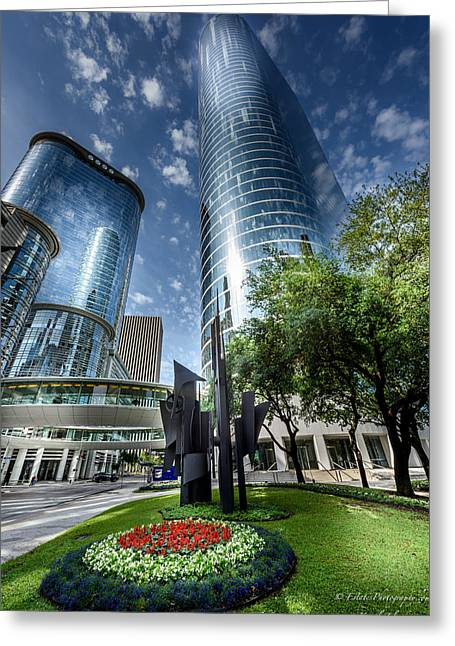 Dynamos Greeting Cards - Houston Downtown 9 Greeting Card by Kamil Zelezik