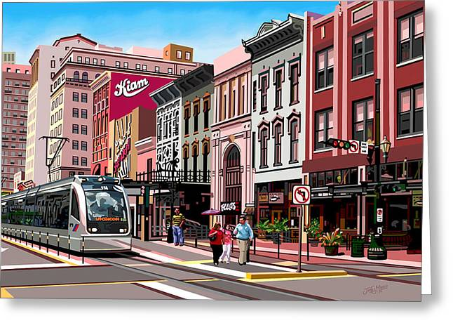 People Greeting Cards - Houston Light Rail Greeting Card by James  Mingo