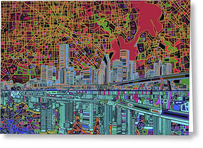 Houston Skyline Abstract 3 Greeting Card by Bekim Art