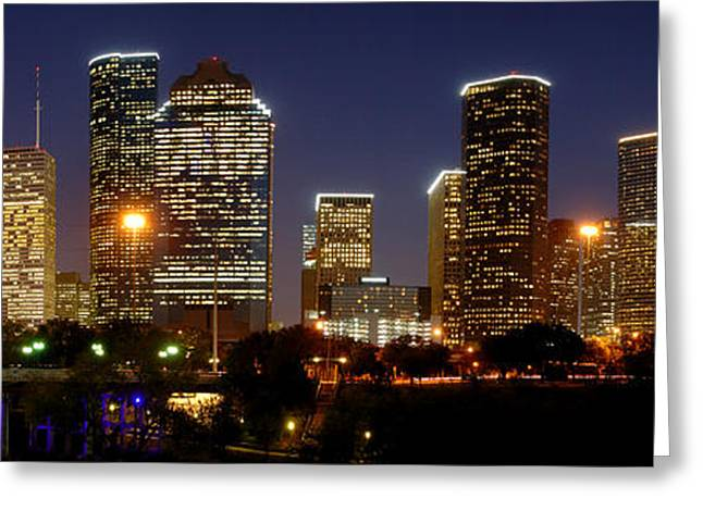 Panoramic Photographs Greeting Cards - Houston Skyline at NIGHT Greeting Card by Jon Holiday