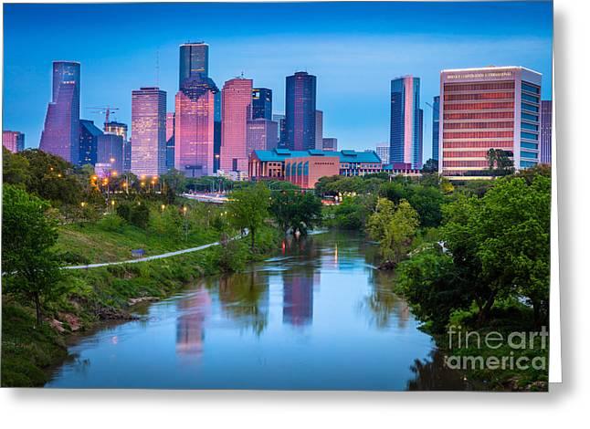 Houston Sunrise Greeting Card by Inge Johnsson