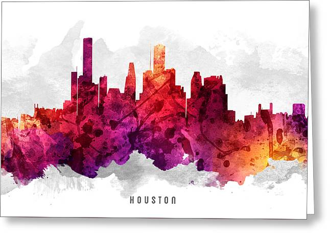 High Rise Greeting Cards - Houston Texas Cityscape 14 Greeting Card by Aged Pixel