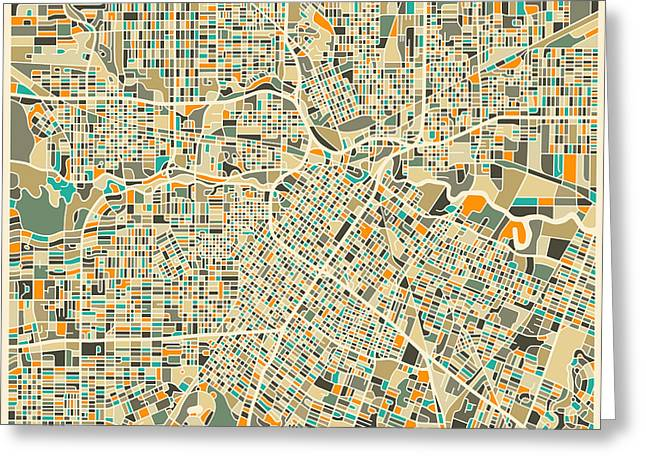 Houston Texas Map Greeting Card by Jazzberry Blue