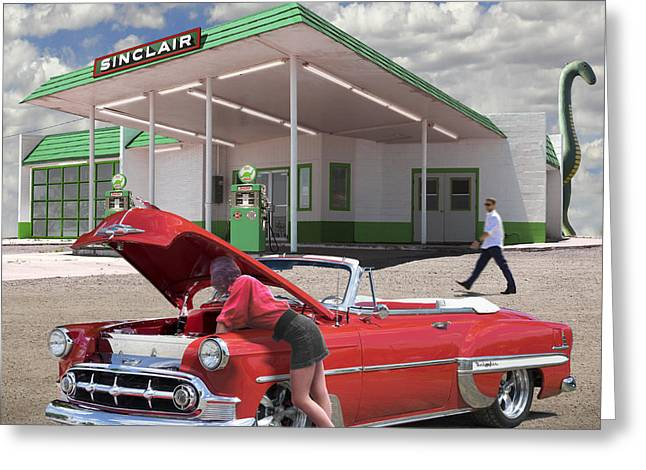 Service Station Greeting Cards - Over heating at the Sinclair Station Greeting Card by Mike McGlothlen