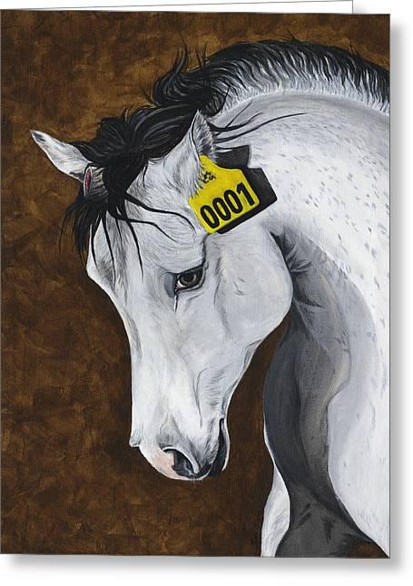 Ear Tags Greeting Cards - Unicorn - How Far Would We Go? Greeting Card by Twyla Francois