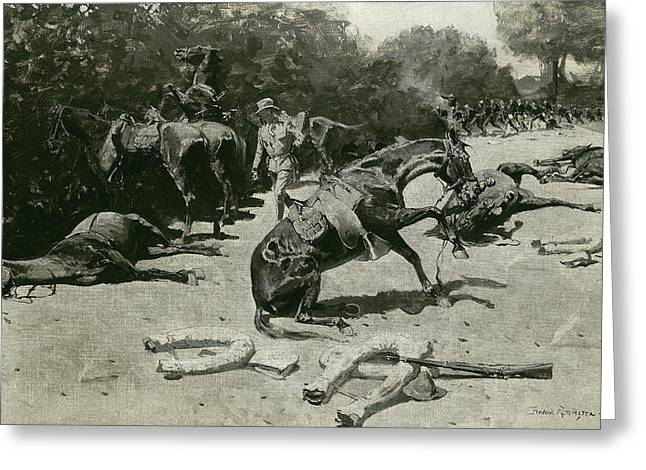 How The Horses Died For Their Country At Santiago, 1899 Greeting Card by Frederic Remington