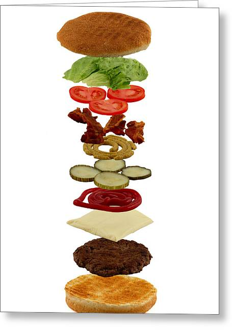 Cheeseburger Greeting Cards - How to build a hamburger Greeting Card by Gert Lavsen