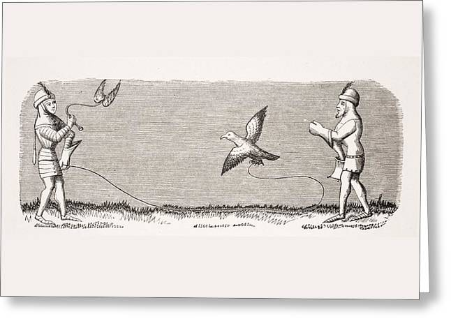 Apparel Greeting Cards - How To Train A New Falcon. 19th Century Greeting Card by Ken Welsh