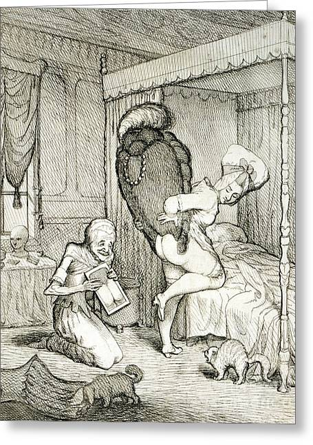 Bedroom Art Greeting Cards - How Will I Look In This Wig, 1778 Greeting Card by Science Source