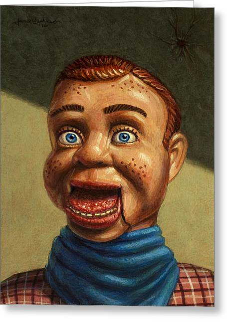 Toy Greeting Cards - Howdy Doody dodged a bullet Greeting Card by James W Johnson
