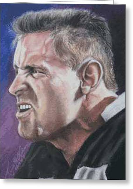 Oakland Paintings Greeting Cards - Howie Long Greeting Card by Kenneth Kelsoe