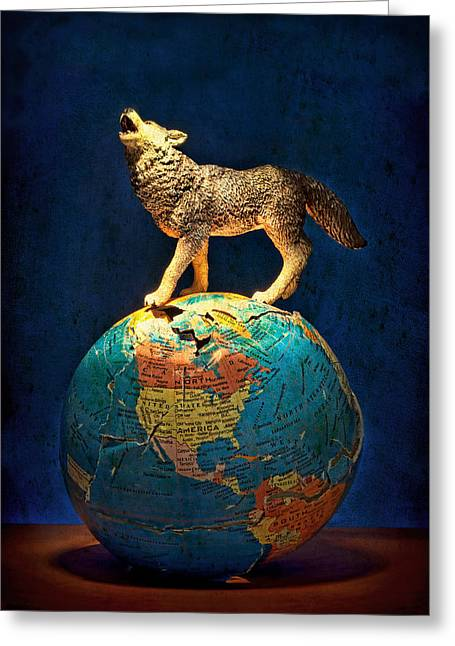 Planet Map Greeting Cards - Howling At The Light Greeting Card by Jeff  Gettis