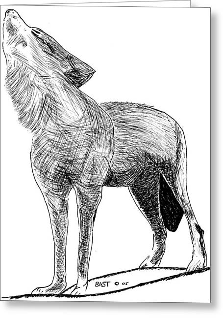 Narure Greeting Cards - Howling Wolf 3 Greeting Card by Lloyd Bast
