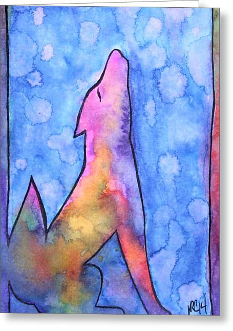 Howling Wolf Greeting Card by Vanessa Curtis