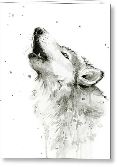 Howling Wolf Watercolor Greeting Card by Olga Shvartsur