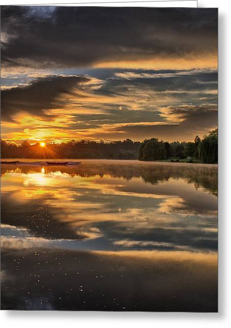 Mist Greeting Cards - Hoyt Lake Sunrise - Square Greeting Card by Chris Bordeleau