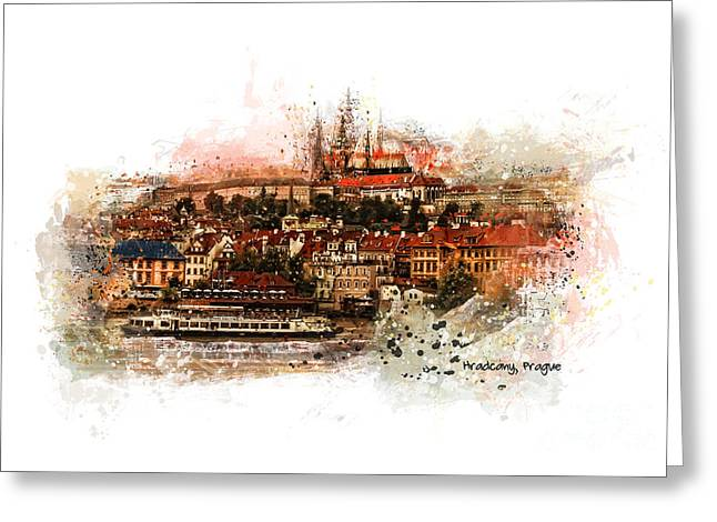 Town Mixed Media Greeting Cards - Hradczany - Prague Greeting Card by Justyna JBJart