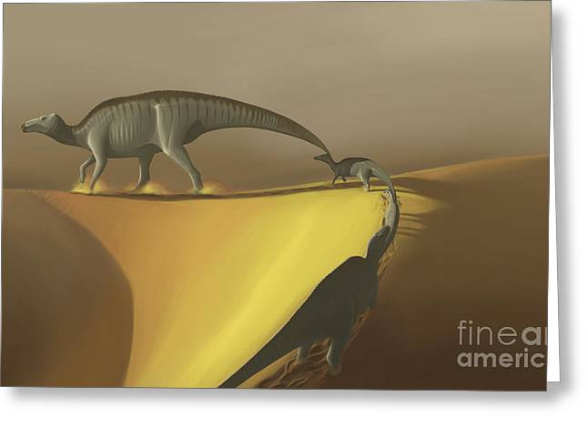Primitive Desert Greeting Cards - Huaxiaosaurus Aigahtens Dinosaurs Greeting Card by Michele Dessi