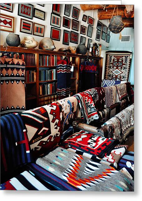 Hubbell Trading Post Navajo Rug Room Portrait Greeting Card by Kyle Hanson