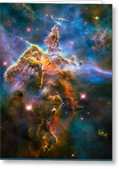 Jet Star Greeting Cards - Hubble Captures View of Mystic Mountain Greeting Card by Marco Oliveira