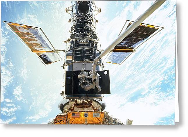 Hubble Photographs Greeting Cards - Hubble Servicing Greeting Card by Nasa