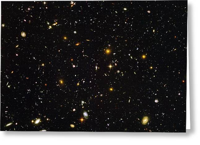 Best Sellers -  - Many Greeting Cards - Hubble Ultra Deep Field Galaxies Greeting Card by Nasaesastscis.beckwith, Hudf Team