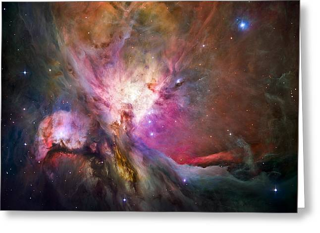 Universe Greeting Cards - Hubbles sharpest view of the Orion Nebula Greeting Card by Adam Romanowicz