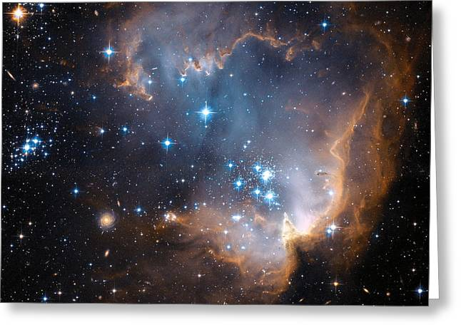 Magellanic Greeting Cards - Hubbles View Of N90 Star-Forming Region Greeting Card by Eric Glaser