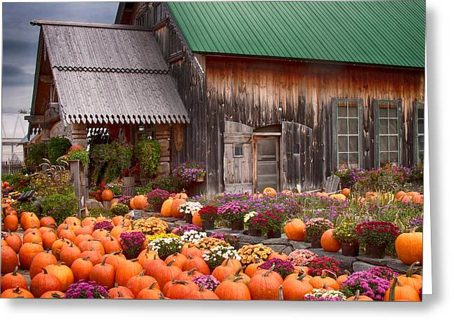 Farm Stand Greeting Cards - Hudaks Cider mill and farmstand Greeting Card by Jeff Folger
