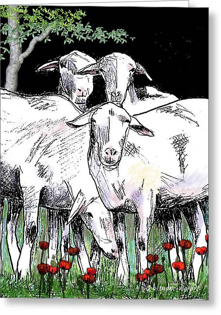 Sheep Digital Art Greeting Cards - Huddled Together Greeting Card by Arline Wagner