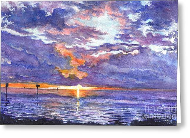 Sun Of Beach Drawings Greeting Cards - Hudson Beach Sunset Florida Greeting Card by Carol Wisniewski