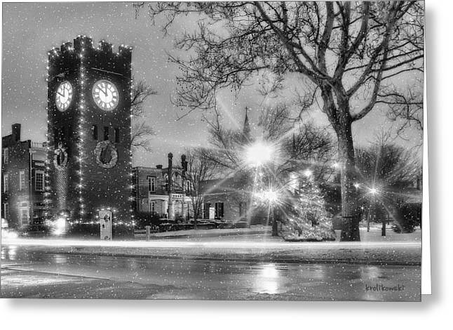 Clocktower Greeting Cards - Hudson Holidays in Black and White Greeting Card by Kenneth Krolikowski