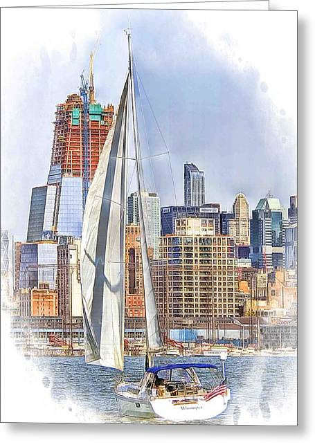 Sailboat Art Greeting Cards - Hudson River New York Skyline sailing Greeting Card by Geraldine Scull
