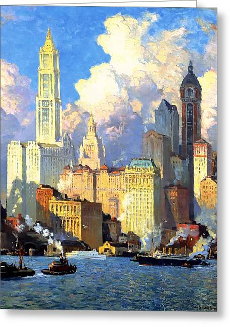 Recently Sold -  - Historic Ship Greeting Cards - hudson river waterfront - N Y C Greeting Card by Colin Campbell Cooper