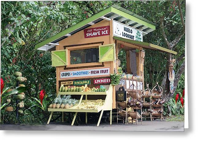 Farm Stand Greeting Cards - Huelo Farm Stand Greeting Card by J Marielle