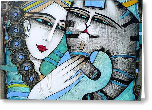 Blue Cat Greeting Cards - Hug Greeting Card by Albena Vatcheva