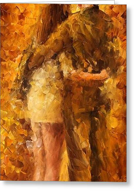Popular Art Greeting Cards - Hug Under The Rain - PALETTE KNIFE Oil Painting On Canvas By Leonid Afremov Greeting Card by Leonid Afremov