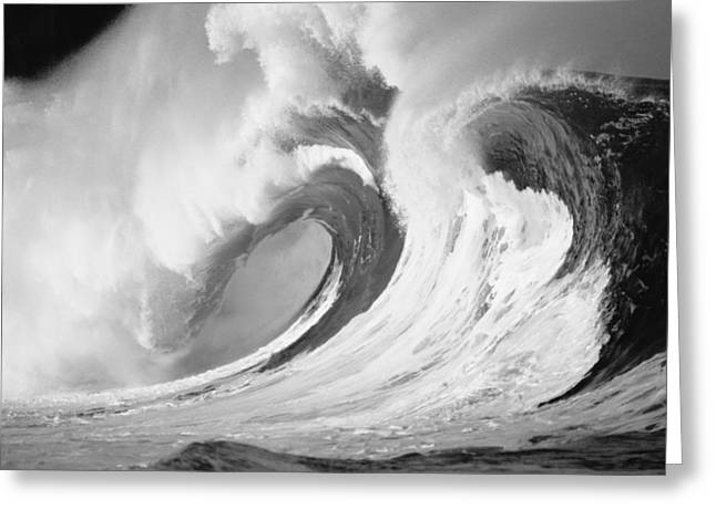 Turbulent Skies Photographs Greeting Cards - Huge Curling Wave - BW Greeting Card by Ali ONeal - Printscapes
